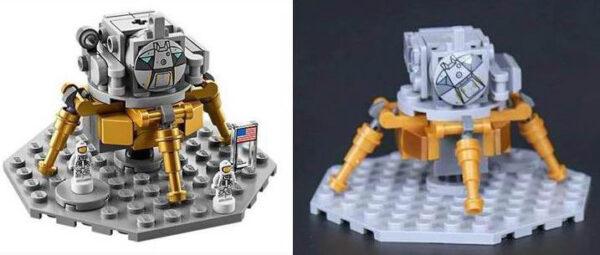 Vlevo lunární modul doprovázející Saturn V ze stavebnice LEGO. Pokud sáhnete po čínské kopii, můžete výrazně ušetřit, ale počítejte i s neméně výrazným kompromisem v kvalitě (srovnejte vstupní průlezy do modulu).