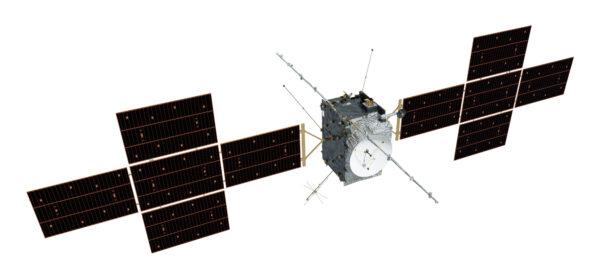 Vizualizace sondy JUICE. Každý ze dvou fotovoltaických panelů tvoří pět segmentů uspořádaných do tvaru kříže.