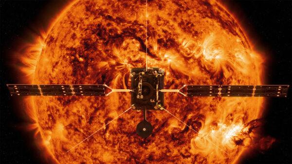 Vizualizace sondy Solar Orbiter u Slunce.