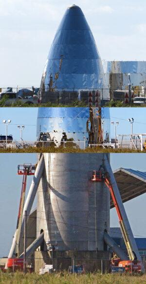 Koláž různých snímků testovacího exempláře lodi Starship.