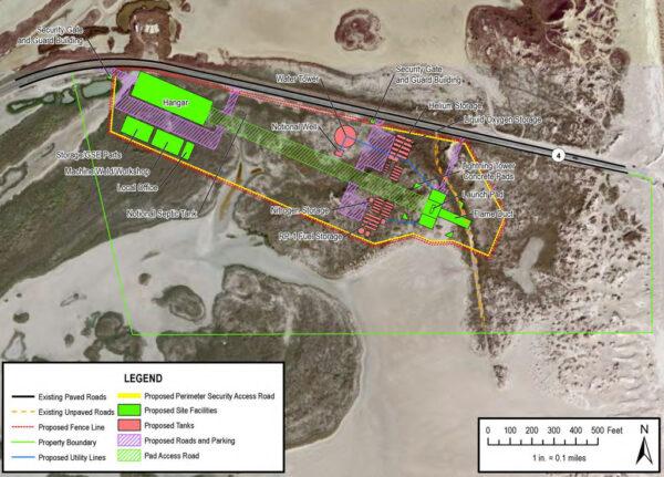 Mapa plánované podoby areálu Boca Chica z roku 2013.