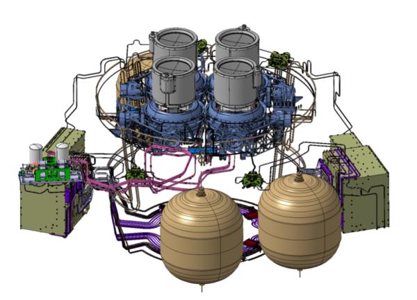 Schéma pohonného systému MTM se čtyřmi iontovými motory T6.