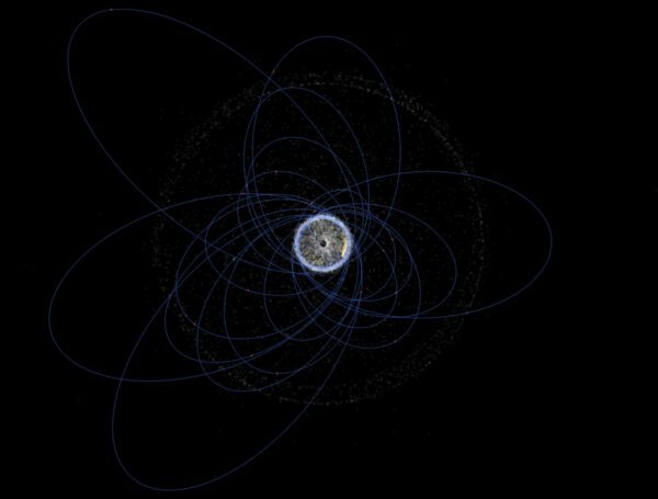 Oběžné dráhy neaktivních těles SpaceX kolem Země při pohledu od severního geografického pólu.