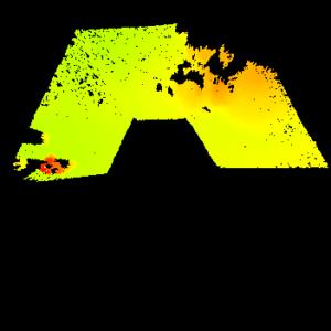 Digitální mapa okolního terénu vytvořená během zkoušek roveru ExoTeR.