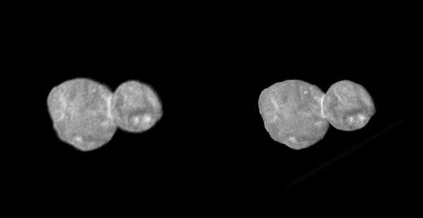 Planetka 2014 MU69 Ultima Thule ve stereo podání. Jde zřejmě o snímky nazývané NYT1 a NYT2, tedy první dva doručené na Zemi 1. a 2. ledna 2019. Při pohledu křížem je trochu vidět prostorově obe tělesa. Případně zkuste anaglyf níže. NASA/JHUAPL/SwRI/Unmannedspaceflight.com/fredk