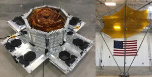 Družice R3D2 (DARPA's Radio Frequency Risk Reduction Deployment Demonstration) a kaptonová anténa při testovacím rozložení.