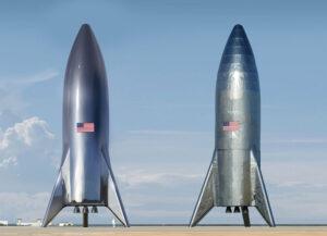 Srovnání avizované podoby a reálného výsledku testovacího zařízení Starship Hopper.