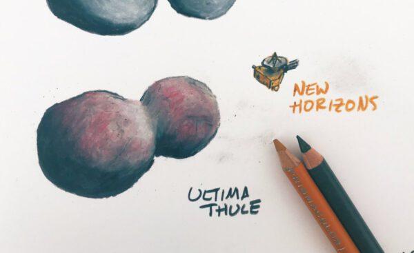 Kresba planetky Ultima Thule. James Tuttle Keane