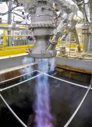 Zážeh motoru Aeon při zkouškách.
