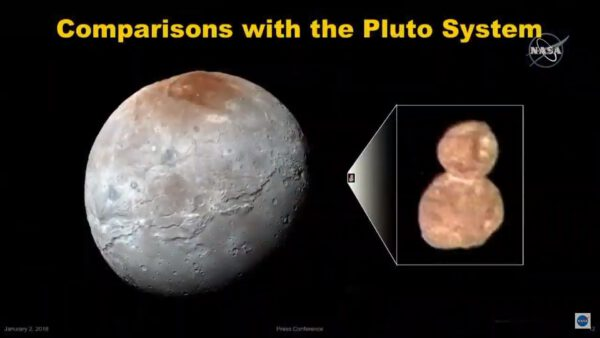 Porovnání Ultima Thule a Charonu. NASA/JHUAPL/SwRI