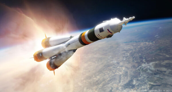 Vizualizace letící rakety Sojuz.
