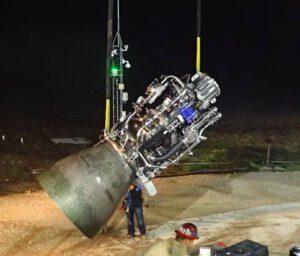 První motor Raptor s finalizovaným designem na základně McGregor v Texasu.