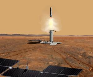 Vizualizace startu rakety se vzorky z povrchu Marsu.