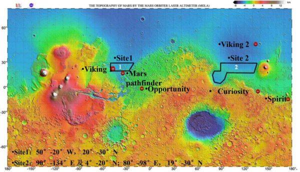 Plánované místo přistání čínského landeru a vozítka
