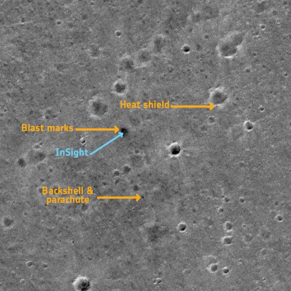 Místo přistání mise InSight z pohledu sondy TGO