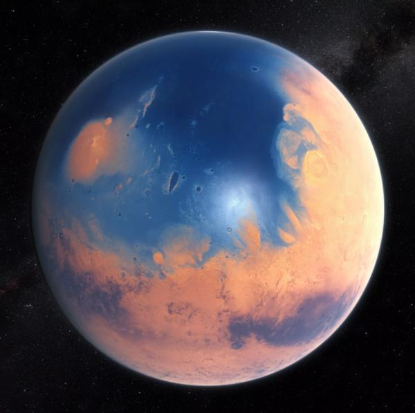 Možná podoba Marsu v době před čtyřmi miliardami let
