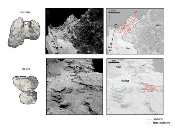 Praskliny jsou evidentní především na krku komety 67P.