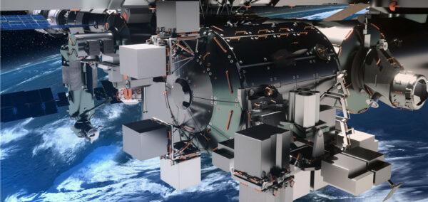 Vizualizace plošiny Bartolomeo na modulu Columbus. Na tuto plošinu by se daly snadno připojit komerční náklady.
