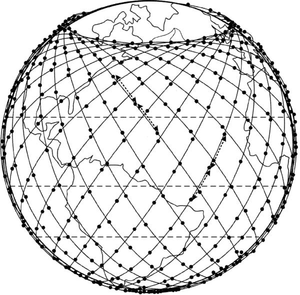 Schematické zobrazení oběžných drah systému Starlink.
