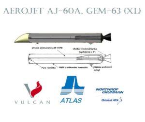 Průřez motorem řady GEM-63 (nahoře), který nahradí stávající AJ-60A (dole) na raketě Atlas V.
