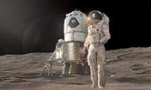 Lunární lander, koncept Lockheed Martin, duben 2019. Návrh je revidovanou a zmenšenou verzí konceptu ze října 2018.