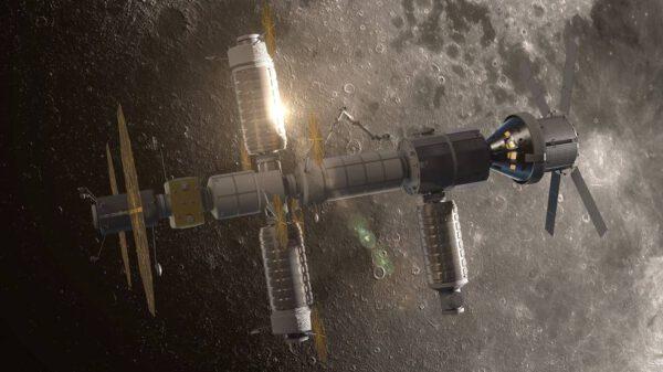 Představa stanice Gateway s připojenými loděmi třídy Cygnus