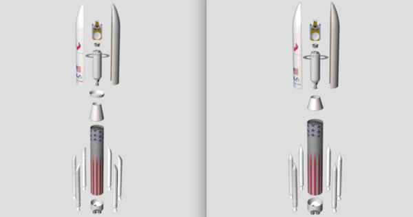 Porovnání staršího a nového designu rakety Vulcan společnosti ULA.