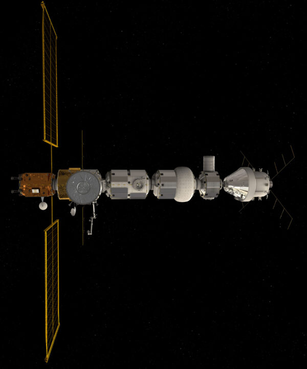 Vizualizace stanice Gateway s připojenou lodí Orion.