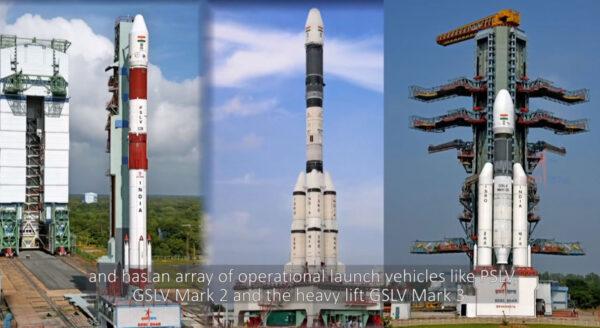 Současná sestava indických raket. Zleva PSLV - GSLV Mk. II - GSLV Mk. III