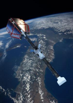 Vizualizace družice Swarm nad Itálií.