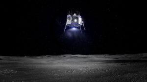 Vizualizace přistání landeru Blue Moon.
