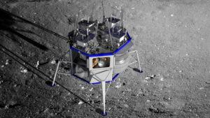 Vizualizace landeru Blue Moon po přistání.