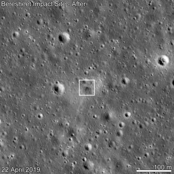 Místo dopadu landeru Beresheet vyfocené 22. dubna.