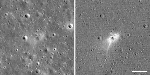 Na levém snímku je místo dopadu landeru Beresheet. Pravý snímek je upraven tak, aby na něm vynikly rozdíly mezi snímkem pořízeným před dopadem a po něm. Toto zvýraznění pomohlo spatřit světlé halo kolem místa dopadu. Oba snímky zachycují oblast širokou 490 metrů - čárka v pravém dolním rohu symbolizuje 100 metrů.