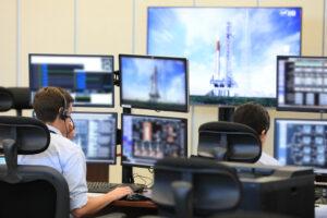 Demonstrační akce spojená se školením v přípravě na letní simulovaná odpočítávání. Řídicí středisko startu LCC, 12. dubna