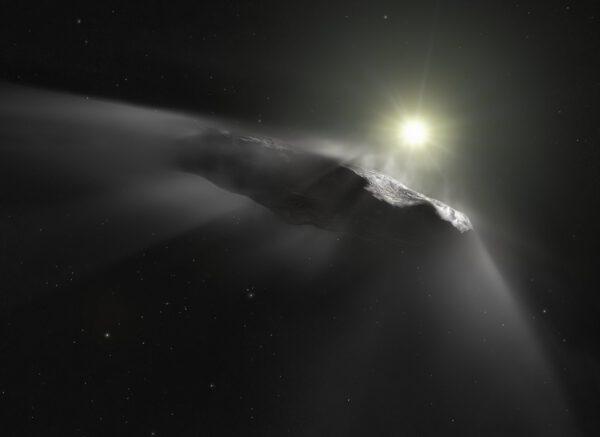Umělecká představa mezihvězdného objektu Oumuamua.
