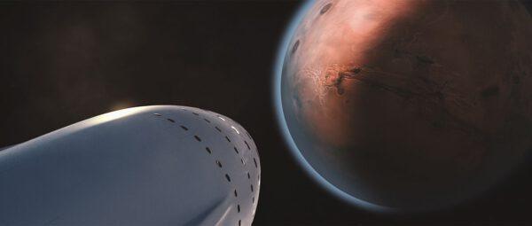 Vizualizace cesty kosmické lodi SpaceX k Marsu.