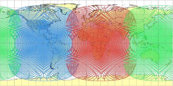 Pokrytí zemského povrchu družicemi ViaSat 3.