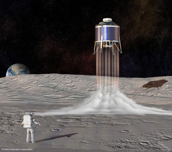 Doprovodný obrázek k tiskové zprávě Sierra Nevada Corporation k jejímu zařazení mezi společnosti, vybrané ke zpracování studií a vývoji prototypů sestupového modulu lunárního landeru.