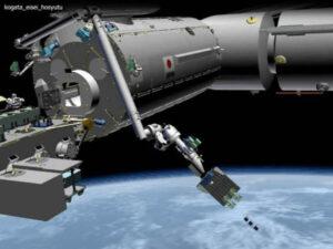 Vizualizace vypouštěcího zařízení na modulu Kibó.