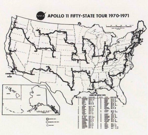 Návratový modul Apolla 11 navštívil opravdu všechny státy USA