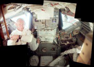 Krásná koláž snímků ukazuje interiér Eagla během letu k Měsíci. Buzz momentálně okupuje Neilovo pracovní místo.