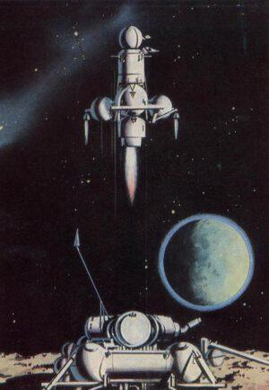 Start druhého stupně sond řady Je-8-5 z Měsíce.