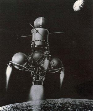 Koláž zachycující druhý stupeň sond řady Je-8-5 nad Měsícem.
