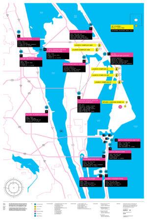 Mapa pozorovacích stanovišť pro starty raket z KSC a CCAFS