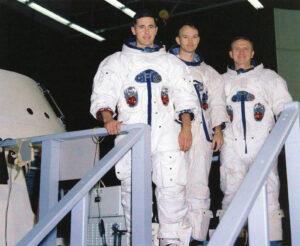 V dubnu 1967 jmenovaná posádka pro misi E (zleva): William Anders, Michael Collins a Frank Borman.