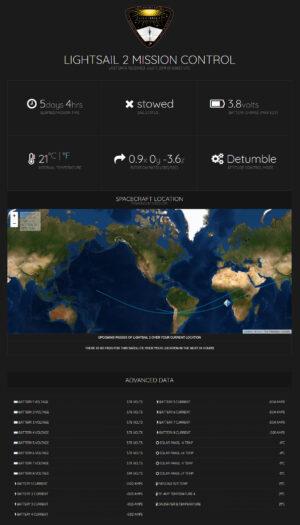 Zobrazované údaje o družici LightSail 2
