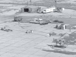 Celkový pohled na zkušební plochu LLRV na základně Edwards AFB
