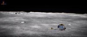 Umělecká představa indického přistávacího modulu na povrchu Měsíce v oblasti jižního pólu