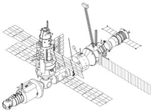 Schéma Miru s modukem Kristall u předního stykovacího uzlu
